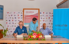 Mövenpick Resort Kuredhivaru Maldives signs an agreement with the UNICEF. PHOTO: MOVENPICK RESORT KUREDHIVARU MALDIVES
