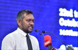 Minister of Economic Development Fayyaz Ismail speaks at the inauguration of Maldives Marine Expo on October 23, 2019. PHOTO: HUSSAIN WAHEED / MIHAARU