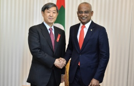 President Ibrahim Mohamed Solih (R) meets with JICA President Shinichi Kitaoka. PHOTO/PRESIDENT'S OFFICE