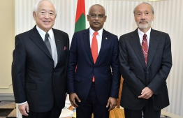 President Ibrahim Mohamed Solih, Chief Executive Officer of Kokyo Tatemono Company Ltd Kohei Yamashita and Professor Tsumoru Shintake from the Okinawa Institute of Science and Technology Graduate University (OIST). PHOTO: PRESIDENT'S OFFICE