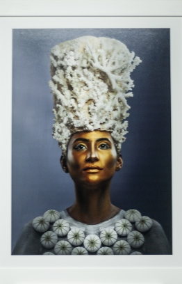 The model is adorned with a giant coral crown and urchin necklace. PHOTO: AHMED AIHAM / THE EDITION