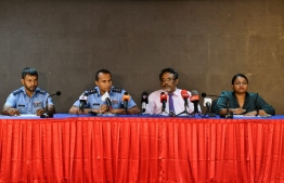 A press conference held concerning the Maldives Marketing and Public Relations Corporation (MMPRC) Corruption case. PHOTO: HUSSAIN WAHEED/ MIHAARU