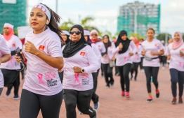 A photograph taken during the Pink Ribbon Walk collaboratively hosted by the Bank of Maldives (BML) and the Cancer Society of Maldives. PHOTO: BML