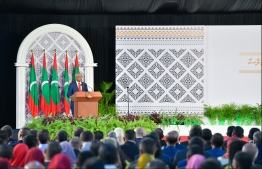 President Ibrahim Mohamed Solih gives his address at the National Day commemoration ceremony held October 28, 2019, at Dharubaaruge. PHOTO: HUSSAIN WAHEED / MIHAARU
