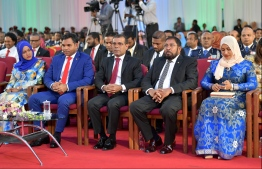 R-L: Transport Minister Aishath Nahula, Jumhooree Party leader and Maamigili MP Qasim Ibrahim, Speaker of Parliament and former President Mohamed Nasheed, and Vice President Faisal Naseem at the National Day commemoration ceremony held October 28, 2019, at Dharubaaruge. PHOTO: HUSSAIN WAHEED / MIHAARU