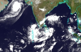 A large storm system formed between Sri Lanka and Maldives. Cyclone Kyarr is seen nearing Oman in this satellite image from October 29. PHOTO: MALDIVES METEOROLOGICAL SERVICE