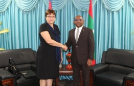 Ambassador of Cuba to the Maldives calls on Foreign Minister Abdulla Shahid. PHOTO: FOREIGN MIN