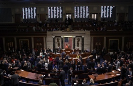 The US House of Representatives votes on a resolution formalizing the impeachment inquiry centered on US President Donald Trump October 31, 2019 in Washington, DC. - Congress formally opened a new, public phase of its presidential investigation Thursday as US lawmakers voted for the first time to advance the impeachment process against Donald Trump. The chamber voted largely along party lines, 232 to 196, to formalize the process, which also provides for opportunities for Trump's counsel to cross-examine witnesses. (Photo by Win McNamee / POOL / AFP)