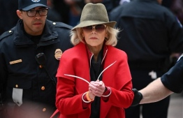 Actress and activist Jane Fonda is arrested by Capitol Police during a climate protest inside the Hart Senate office building on November 1, 2019 in Washington, DC. (Photo by Mandel NGAN / AFP)