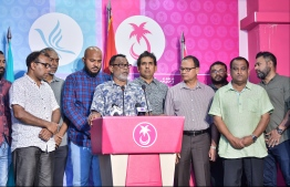An opposition news conference held at the PPM head office. PHOTO: HUSSAIN WAHEED/ MIHAARU
