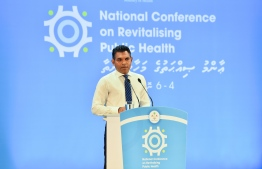"""Vice President Faisal Naseem speaking at the opening ceremony  of the """"National Forum on Revitalizing Public Health: Working Together for a Healthier Nation"""". PHOTO: PRESIDENT'S OFFICE"""