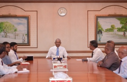 President Ibrahim Mohamed Solih and Maldives National Association of Construction Industry (MNACI) during the meeting held to discuss issues in the construction sector.