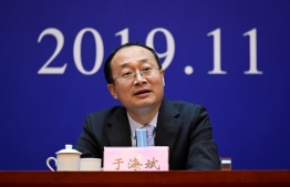 Yu Haibin, deputy director of China National Narcotics Control Commission (ONNCC), speaks during a briefing in Xingtai, China's Hebei Province on November 7, 2019. - China on November 7 jailed nine people, one with a suspended death sentence, for illegally selling fentanyl to US buyers, the result of a landmark joint investigation over a drug that has killed thousands of Americans. (Photo by WANG ZHAO / AFP)