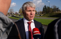 """Russian Sport Minister Pavel Kolobkov gives an interview on the sidelines of a conference of the World Anti-Doping Agency (WADA) in Katowice, Poland, on November 6, 2019. - Russia's anti-doping tzar Yuri Ganus blasted the """"irresponsible and destructive actions"""" of Moscow authorities he accuses of doctoring key data handed over to the World Anti-Doping Agency. Ganus told delegates at WADA's world conference in Katowice that the anti-doping agency RUSADA he heads had become """"a hostage to the crisis"""" triggered by the falsified information. (Photo by Irek DOROZANSKI / AFP)"""