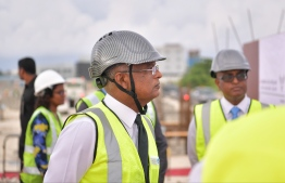President Ibrahim Mohamed Solih visits Velana International Airport (VIA) to observe the progress of the expansion project underway at the airport. PHOTO: PRESIDENT'S OFFICE