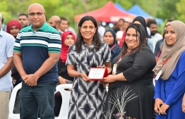 First Lady Fazna Ahmed (C) and Women in Tech Maldives President Hafsath Haleem (C-R) during the inauguration ceremony, PHOTO: PRESIDENT'S OFFICE