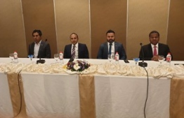 Delegation of the opposition coalition during the press conference held at Sri Lanka. PHOTO: PROGRESSIVE PARTY OF MALDIVES (PPM)