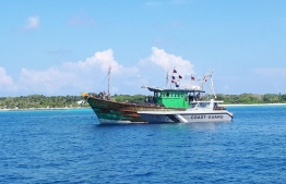 One of the Indian fishing vessels seized by Maldives National Defence Force (MNDF) alongside a Coast Guard vessel. PHOTO: MIHAARU