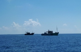 Indian fishing vessels seized by authorities in Haa Alif Atoll. PHOTO: MIHAARU