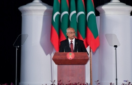 President Ibrahim Mohamed Solih speaking at the official reception held to mark this year's Republic Day. PHOTO: PRESIDENT'S OFFICE