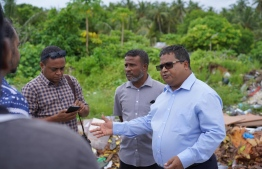 Minister of Environment Dr Hussain Rasheed Hassan on his visit to Meemu Atoll. PHOTO: ENVIRONMENT MINISTRY