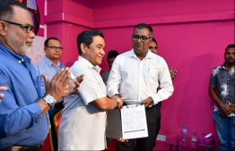 Former president Abdulla Yameen Abdul Gayoom during the signing ceremony on Wednesday. PHOTO: HUSSAIN WAHEED / MIHAARU