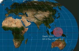 The epicentre of the earthquake that struck off the Indonesian coast of in the Molucca Sea.