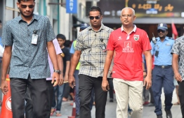 President Ibrahim Mohamed Solih on the way to view the qualifying match. PHOTO: PRESIDENT'S OFFICE