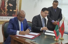 Minister of Foreign Affairs Abdulla Shahid signing the visa waiver agreement. PHOTO: MISTRY OF FOREIGN AFFAIRS