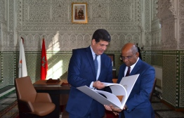 Miniter of Foreign Affairs Abdulla  Shahid and Casablanca region Council President Mustapha Bakkoury. PHOTO: MINISTRY OF FOREIGN AFFAIRS