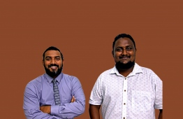 Veteran TV Anchor and Island Aviation's PR Manager Moosa Waseem (L) alongside Mihaaru New's Assistant Editor and award-winning journalist Mohamed Hamdhoon.  PHOTO: AHMED AIHAM / THE EDITION