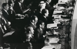 Heads of State and Government from (bottom to top) Mozambique, Monaco, Mexico, Maldives, Luxembourg, Liechtenstein, Lebanon, Kuwait, Japan - representing all major regions of the world - are only 9 of the 71 leaders who spent 30 September 1990 discussing the problems and destiny of children at the World Summit for Children. PHOTO: UNICEF