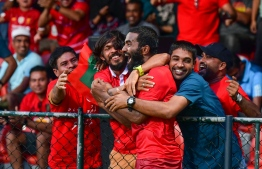 Ali Ashfaq (Dhagandey) celebrates during the qualifier match between Maldives and Guam. PHOTO: NISHAN ALI/MIHAARU