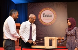 President Ibrahim Mohamed Solih visiting the national arts and crafts exhibition 'Fannu Expo 2019.' PHOTO: PRESIDENT'S OFFICE