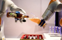 Robots invented by Kuka, one of the largest leading robotic companies of Germany. PHOTO: picture-alliance/dpa/K. Nietfeld