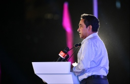 Former President Abdulla Yameen speaks at PPM/PNC rally. FILE PHOTO: HUSSAIN WAHEED / MIHAARU