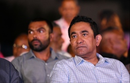 Former president Abdulla Yameen Abdul Gayoom during the rally held six days prior to his conviction. PHOTO: HUSSAIN WAHEED / MIHAARU