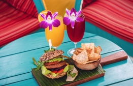 The protein-based burger, now served at three of LUX* Ari Atoll's restaurants is one of the resorts new eco-initiatives. PHOTO: LUX* ARI ATOLL
