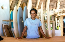 Azhoora Ahmed speaks to The Edition about her experience as the Surf Experience Manager for the Soneva resorts in Maldives. PHOTO/SONEVA