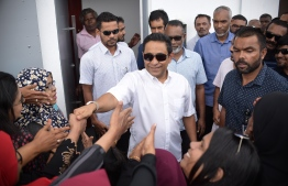 Former President Abdulla Yameen Abdul Gayoom arriving at the Criminal Court for his hearing. PHOTO: NISHAN ALI/ MIHAARU