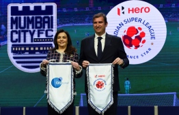 English Premier League football club Manchester City and City Football Group (CFG) CEO Ferran Soriano  (R) and India's Football Sports Development Ltd chairperson Nita Ambani attend an event in Mumbai on November 28, 2019. - The owners of English Premier League champions Manchester City on Thursday made Mumbai City FC of India the eighth club in their global football empire. (Photo by INDRANIL MUKHERJEE / AFP)