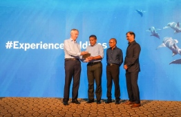 Minister of National Planning and Infrastructure Mohamed Aslam launched the 'Experience Maldives' global destination campaign. PHOTO: BANK OF MALDIVES
