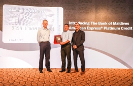 Minister of National Planning and Infrastructure (C) launched the American Express Platinum Card. PHOTO: BANK OF MALDIVES