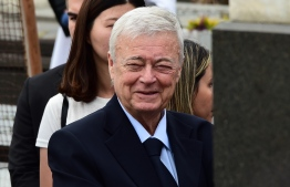 """(FILES) This file photo taken on August 16, 2016 shows former president of the CBF Ricardo Teixeira looking on at the burial of Joao Havelange, FIFA's president between 1974 and 1998, at the cemetery of Sao Joao Batista in Botafogo, Rio de Janeiro. - Ex-Brazilian football chief Ricardo Teixeira is banned for life for """"corruption"""" announced FIFA on November 29, 2019. PHOTO: TASSO MARCELO / AFP"""