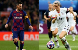 (COMBO) This combination of file photographs created on November 26, 2019, shows (L) Barcelona's Argentine forward Lionel Messi controlling the ball during the Spanish league football match between FC Barcelona and RC Celta de Vigo at the Camp Nou stadium in Barcelona on November 9, 2019 and United States' forward Megan Rapinoe (R) fighting for the ball during the 2019 Women's World Cup quarter-final football match between France and United States at The Parc des Princes stadium in Paris on June 28, 2019. - The Ballon d'Or ceremony will take place on December 2, 2019 in Paris. (Photos by Josep LAGO and FRANCK FIFE / AFP)