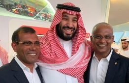 President Ibrahim Mohamed Solih and Speaker of Parliament and former President Mohamed Nasheed with the Crown Prince of Saudi Arabia Mohammed Bin Salman. PHOTO: PRESIDENT'S OFFICE