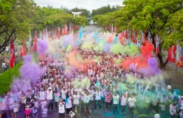 Participants at the Ooredoo Color Run held in Hulhumale', in December 2019. PHOTO/OOREDOO MALDIVES