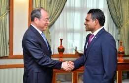 Governor of China's Yunnan Province, Ruan Chengfa, calls on Vice President Faisal Naseem on December 2, 2019. PHOTO/PRESIDENT'S OFFICE