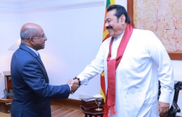 Minister of Foreign Affairs Abdulla Shahid (L) paid a courtesy call on Sri Lankan Prime Minister Mahinda Rajapaksa during Shahid's official visit to the country. PHOTO: MINISTRY OF FOREIGN AFFAIRS