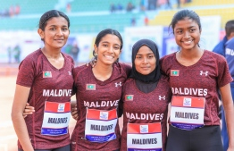 The female relay team which broke the national record at the ongoing South Asian Games 2019. PHOTO: ABDULLA ABEEDH/ MALDIVES OLYMPIC COMMITTEE